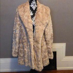 Free people pink blush color faux fur coat size M
